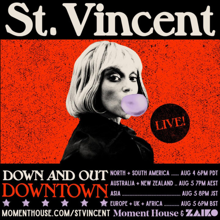 St. Vincent DOWN AND OUT DOWNTOWN album cover from BB GUN PRESS for use by 360 Magazine