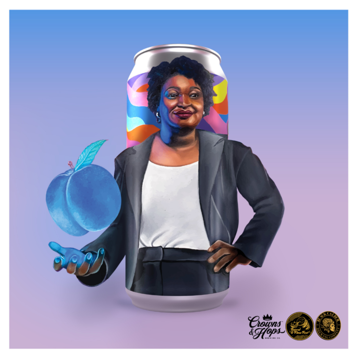 Stacey Abrams Blue Peach illustration from Felecia Bearden, The Purple Agency, for use by 360 Magazine